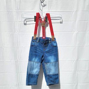 Children's Place Boys Blue Jeans with Suspenders